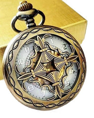 Celtic Cross Gold Pocket Watch with Ivory Dial includes Chain Free Shipping