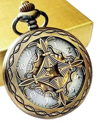 Gold Pocket Watch with Ivory Dial Celtic