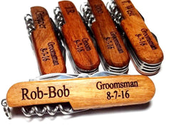 Personalised Pocket Knife Wood Handle Groomsmen Gift Custom Engraved 7 Blade Jack Knife