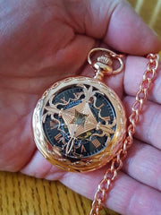 Copper Rose Gold Pocket Watch Black Dial Rose Gold Numerals Celtic