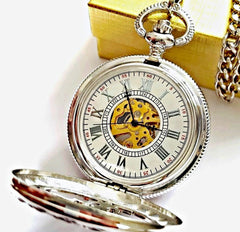 Silver Pocket Watch Roman Numerals Celtic