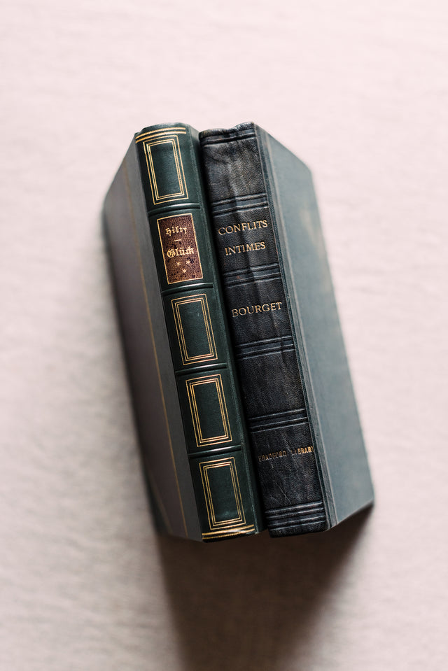 Antique Pair French & German Leather Bound Books