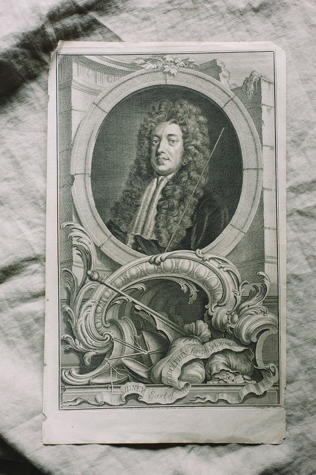 Antique 1739 Copper Engraving : Earl of Godolphin