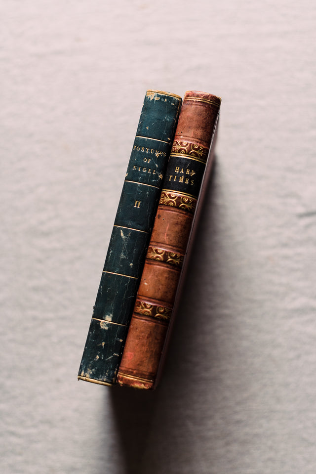 Antique Pair of English Leather Bound Books