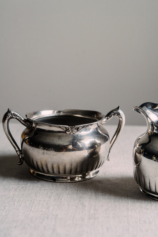Antique Creamer and Sugar Bowl Set