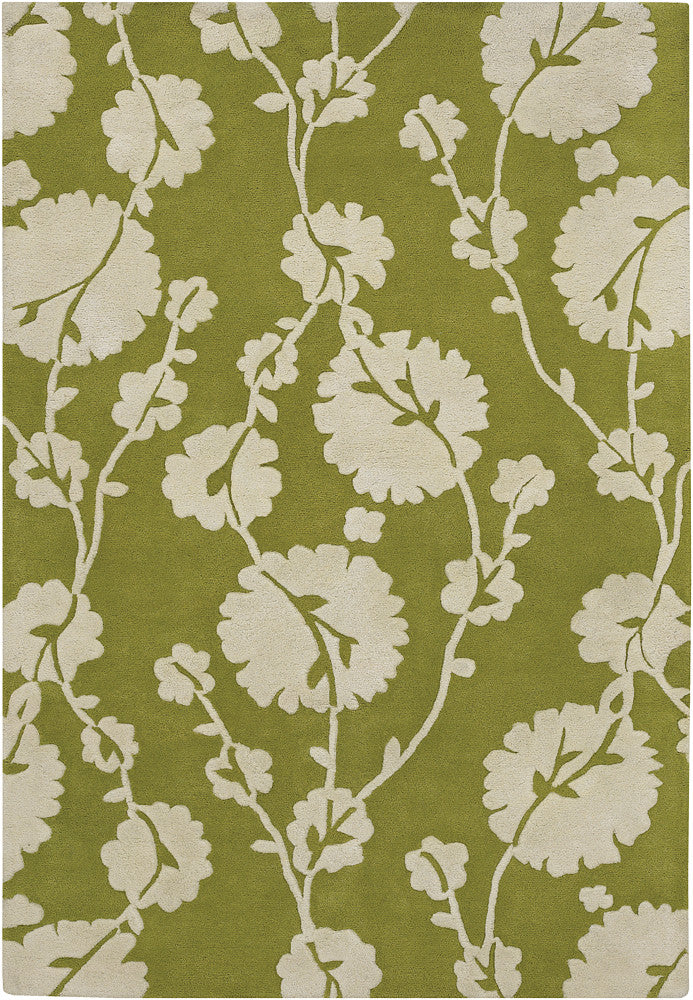 Cotton Blooms Area Rug, Green