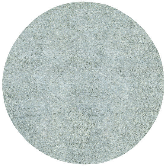 Aros Hand Woven Shag Wool Rug, Round Spa Blue
