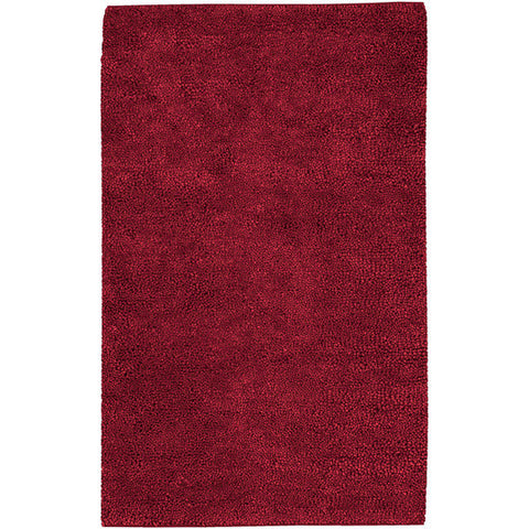 Aros Hand Woven Shag Wool Rug, Red