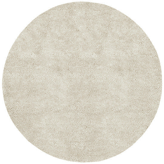 Aros Hand Woven Shag Wool Rug, Round Ivory
