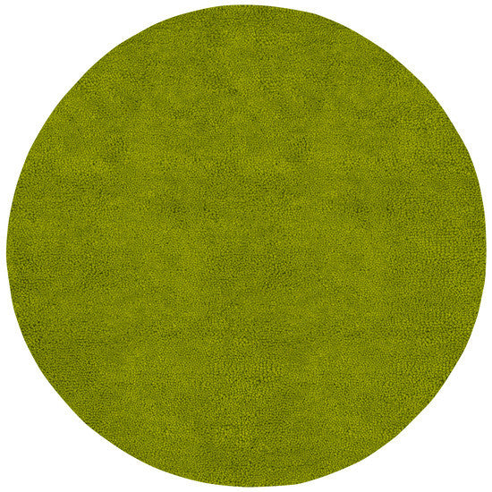 Aros Hand Woven Shag Wool Rug, Round Lime Green