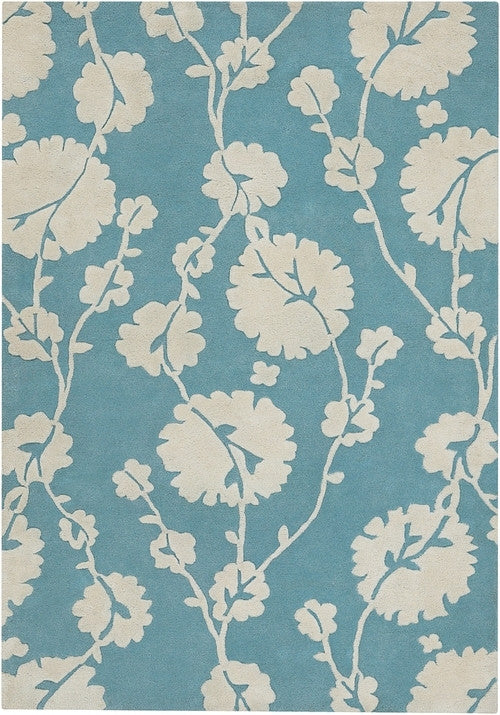 Cotton Blooms Area Rug, Blue