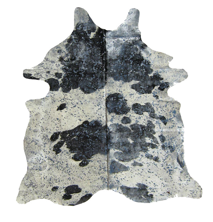Black and White Cowhide with Silver