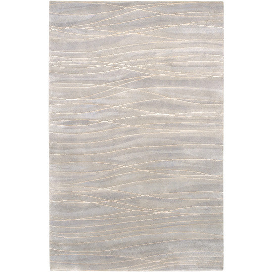 Waves Shibui Wool Rug, Gray