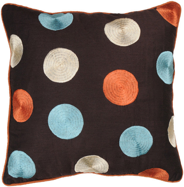 Embroidered and Welt Poly Dupioni Pillow