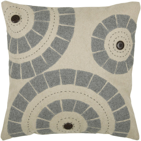 Aplique, Button, and Embroidered Felt Pillow