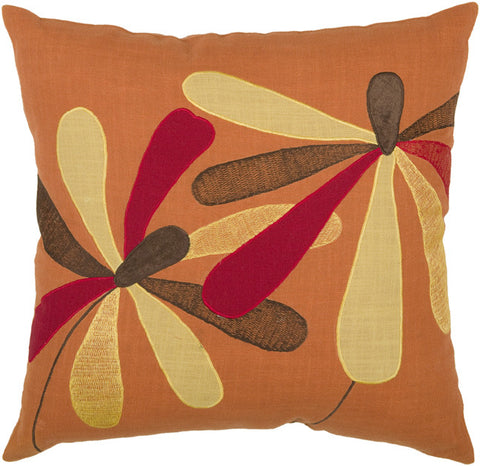 Aplique and Embroidered Cotton Pillow