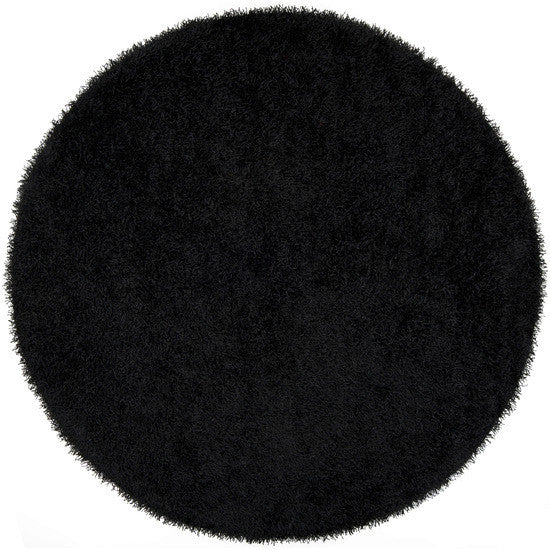 Vivid Collection Hand Woven Shag Rug, Round Black