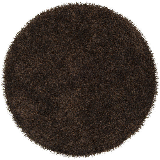 Vivid Collection Hand Woven Shag Rug, Round Brown