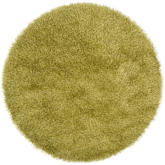 Vivid Collection Hand Woven Shag Rug, Round Lime
