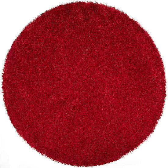 Vivid Collection Hand Woven Shag Rug, Round Red