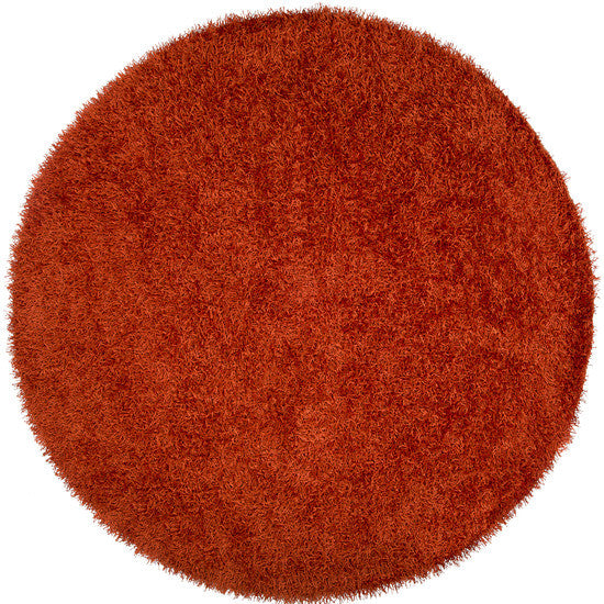 Vivid Collection Hand Woven Shag Rug, Round Rust