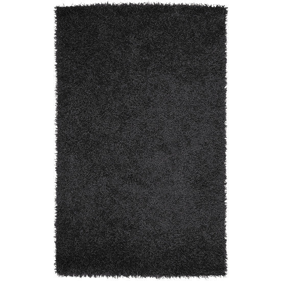 Vivid Collection Hand Woven Shag Rug, Black