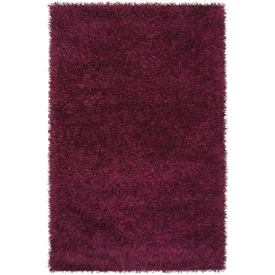 Vivid Collection Hand Woven Shag Rug, Raspberry