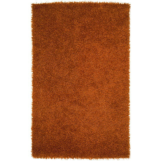 Vivid Collection Hand Woven Shag Rug, Rust