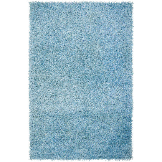 Vivid Collection Hand Woven Shag Rug, Spa Blue