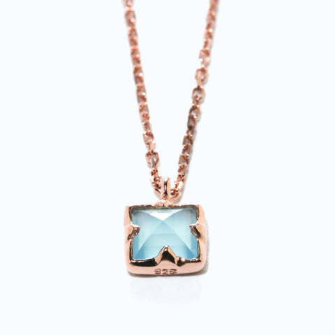 Mini Square Blue Topaz Necklace