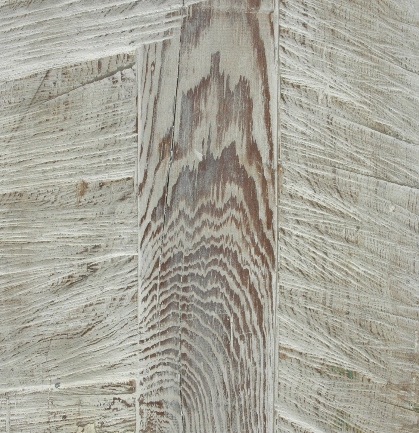 Limewash on reclaimed pine