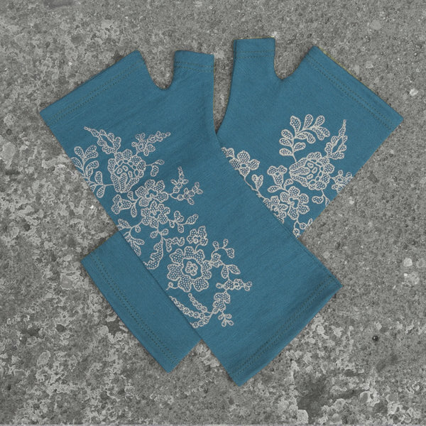 2018 Kate Watts Teal lace print merino fingerless gloves