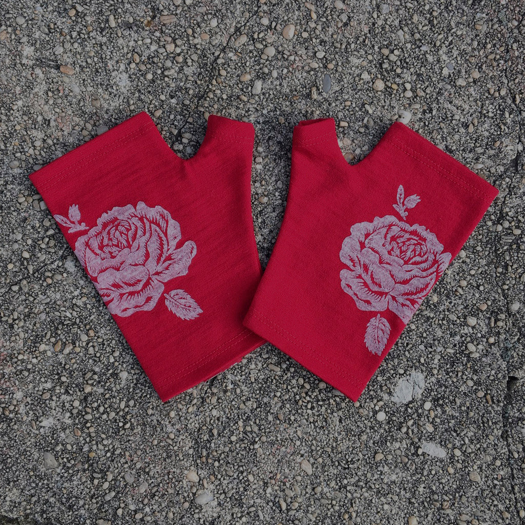 Red hobo length rose print merino fingerless gloves