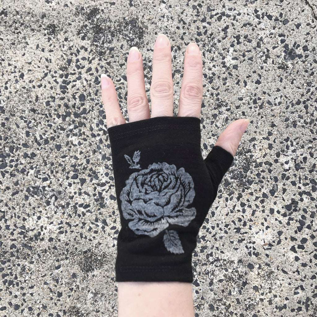 Black hobo length rose print merino fingerless gloves