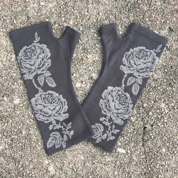 Charcoal rose print merino fingerless gloves