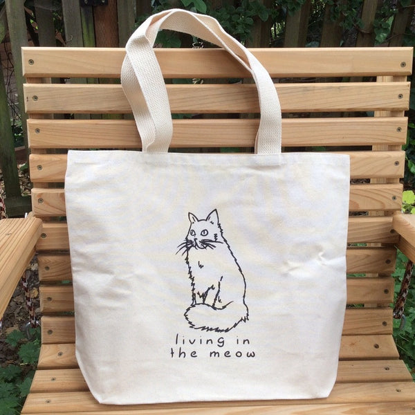 Living in the Meow Canvas Tote