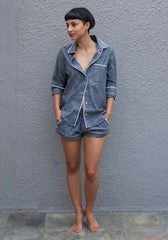 Gray Chambray Pajama Shorts