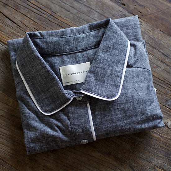 Gray Chambray Pajama Top