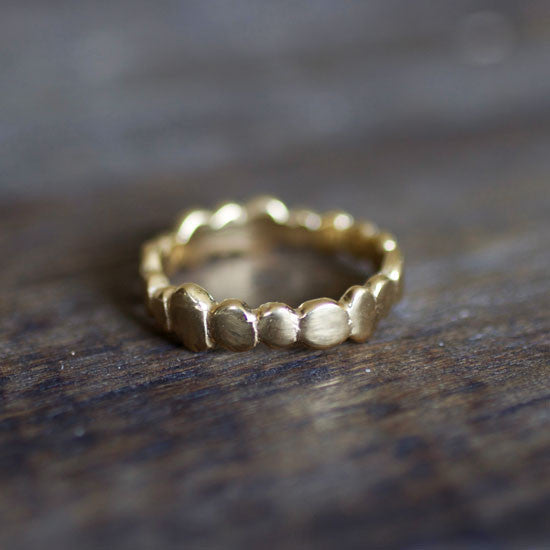 Ocean Pebble Gold Stacking Ring