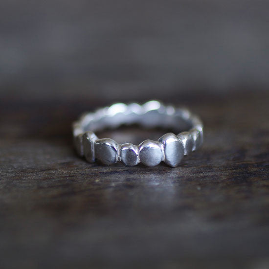 Ocean Pebble Silver Stacking Ring