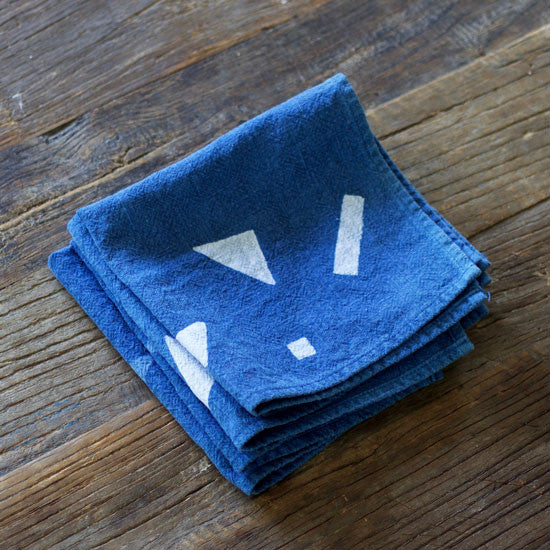 Hand Dyed Indigo Triangle Napkins