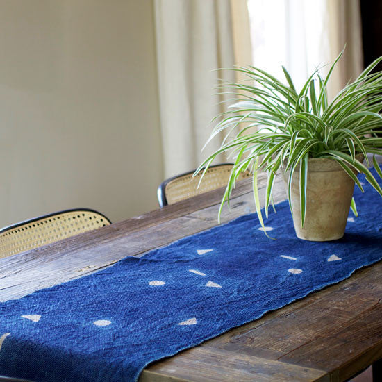 Geometric Indigo Table Runner