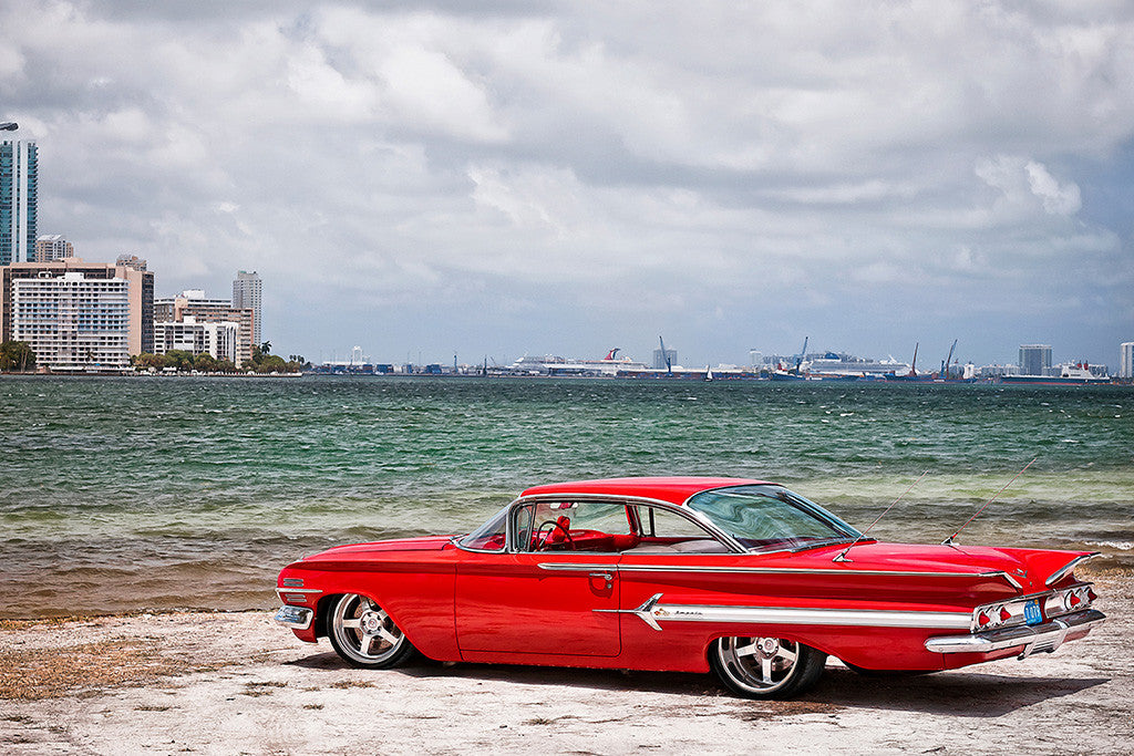 1960 Chevy Impala Chevrolet Retro Red Car Auto Poster