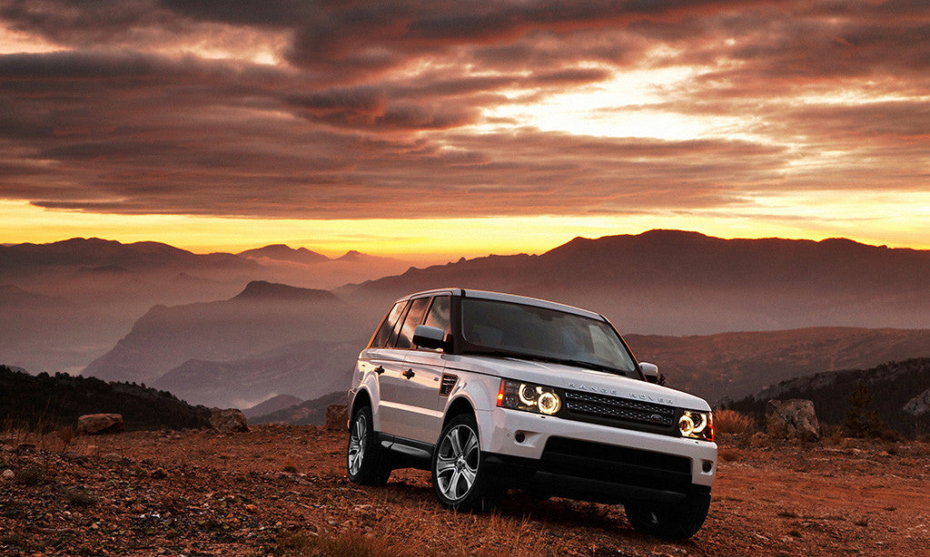 Range Rover Sunset Mountains Car Auto Poster