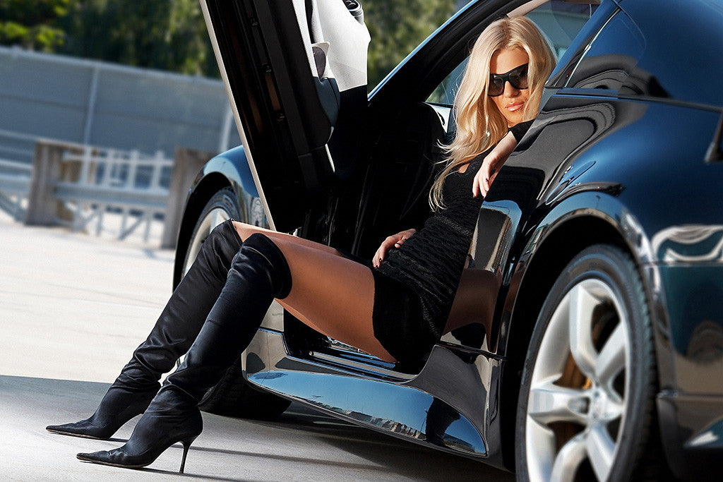 Hot Girl Legs Car Auto Poster