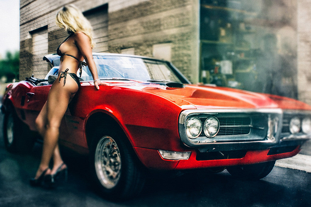 Hot Sexy Girl Blonde Red Retro Car Auto Poster