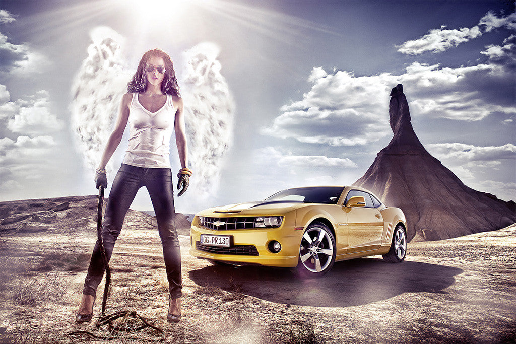 Hot Girl Angel Chevrolet Camaro Car Auto Poster