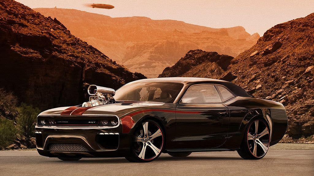 Dodge Challenger Tuning Desert Car Auto Poster