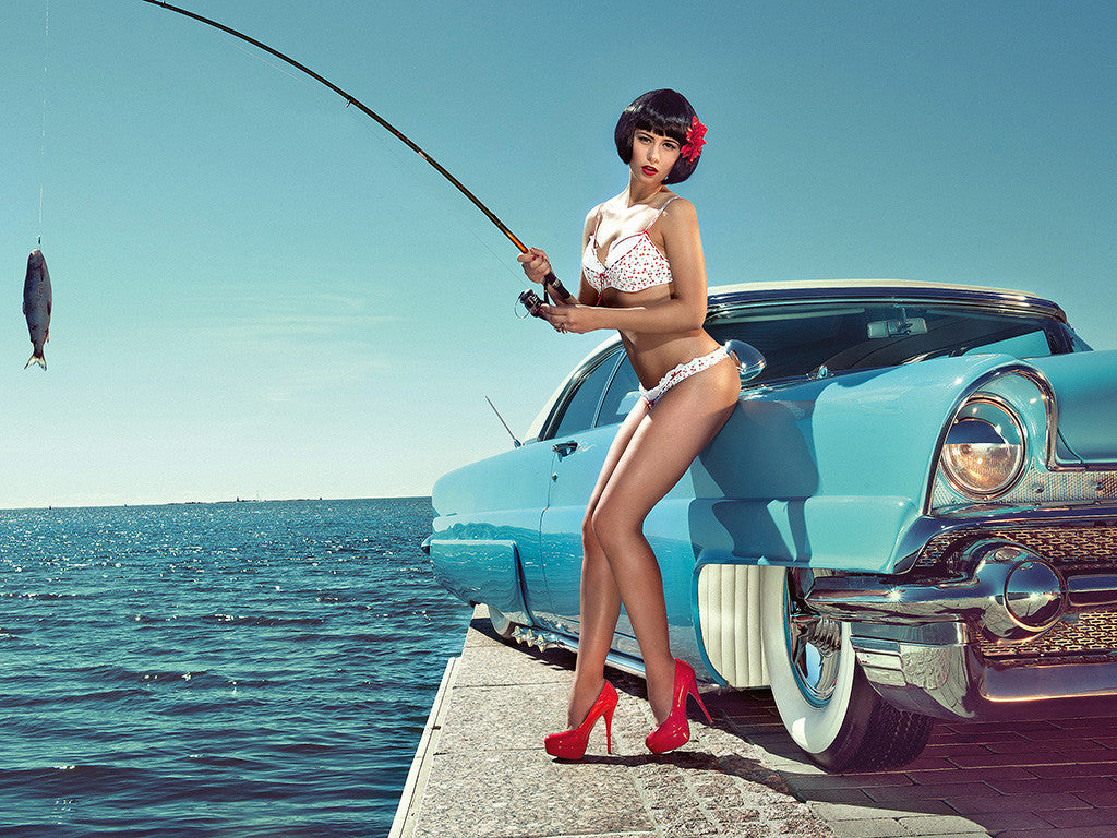 Hot Girl Miss Tuning Fishing Retro Car Auto Poster