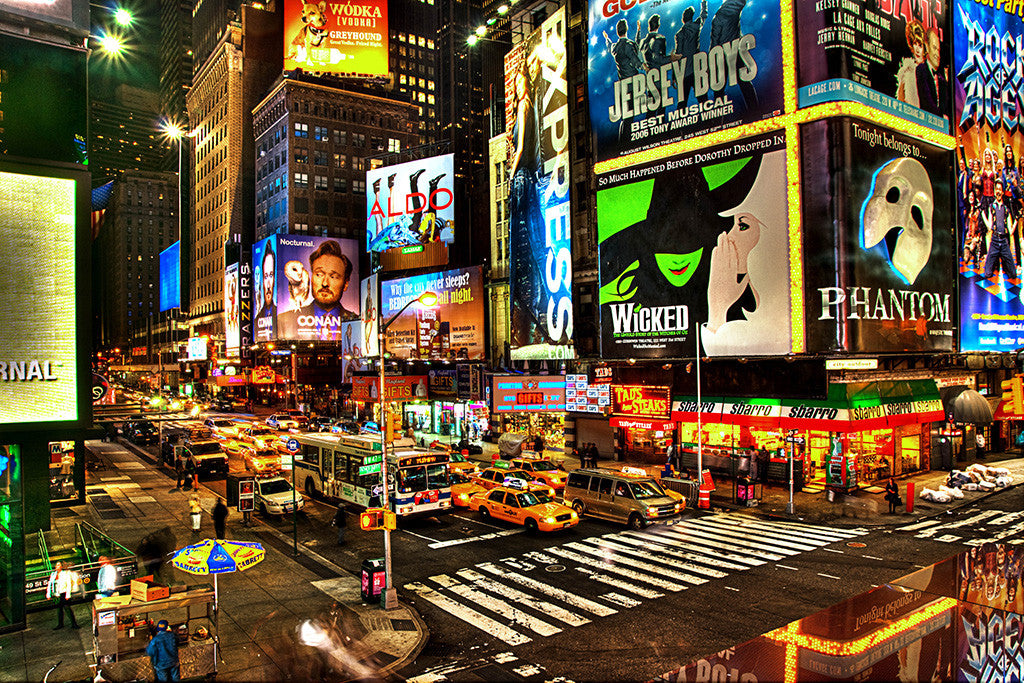 New York Night Cityscape Cars Auto Poster